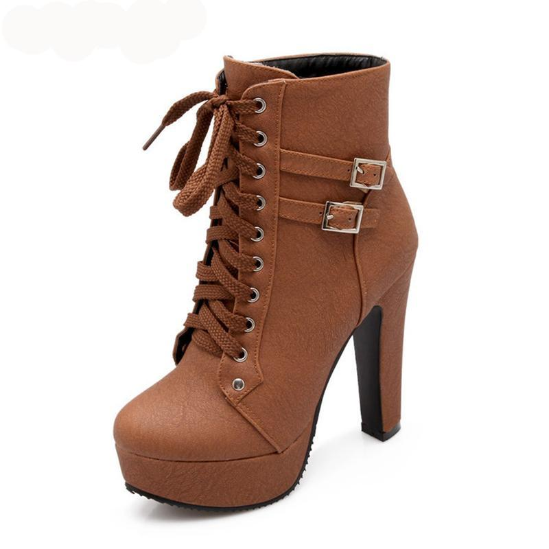 TRENDY Ankle Boots High Heels with buckle