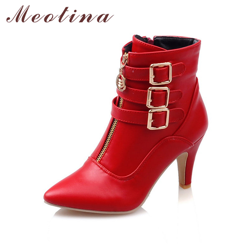 Women Boots Spring High Heels Ankle Boots Pointed Toe Buckle Martin Boots Zip Ladies Shoes