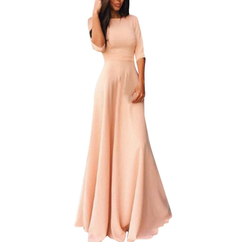 Women Ladies Half Sleeve Floor Length Dress Casual Loose Party Dress