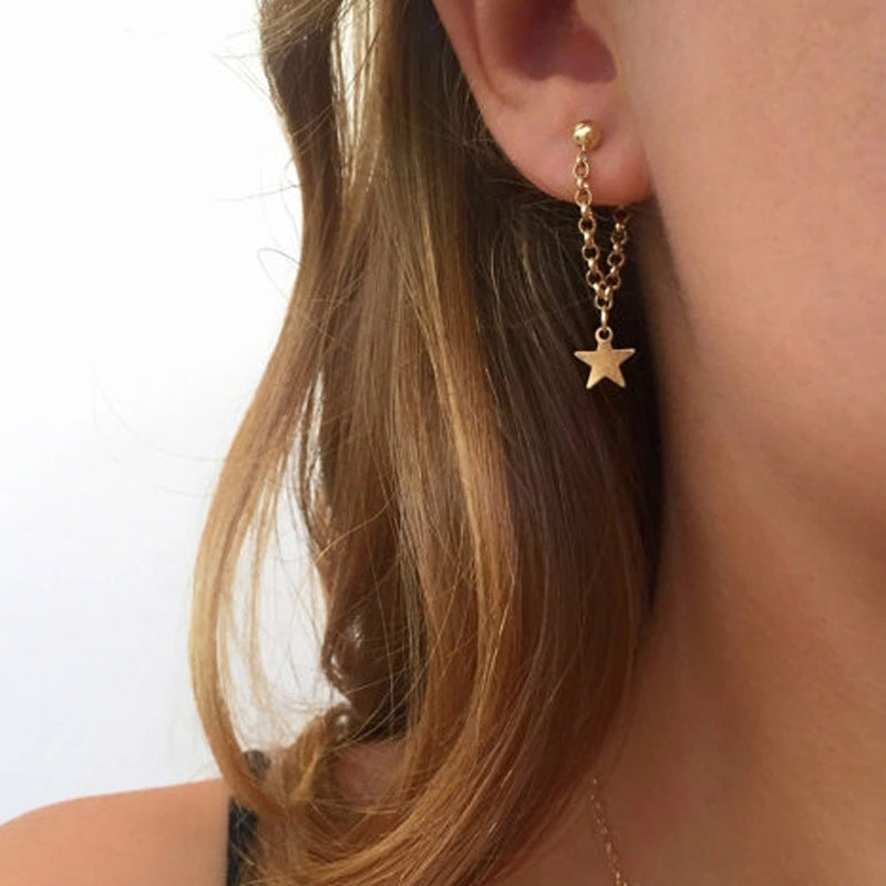 Star Shaped Hanging Earrings