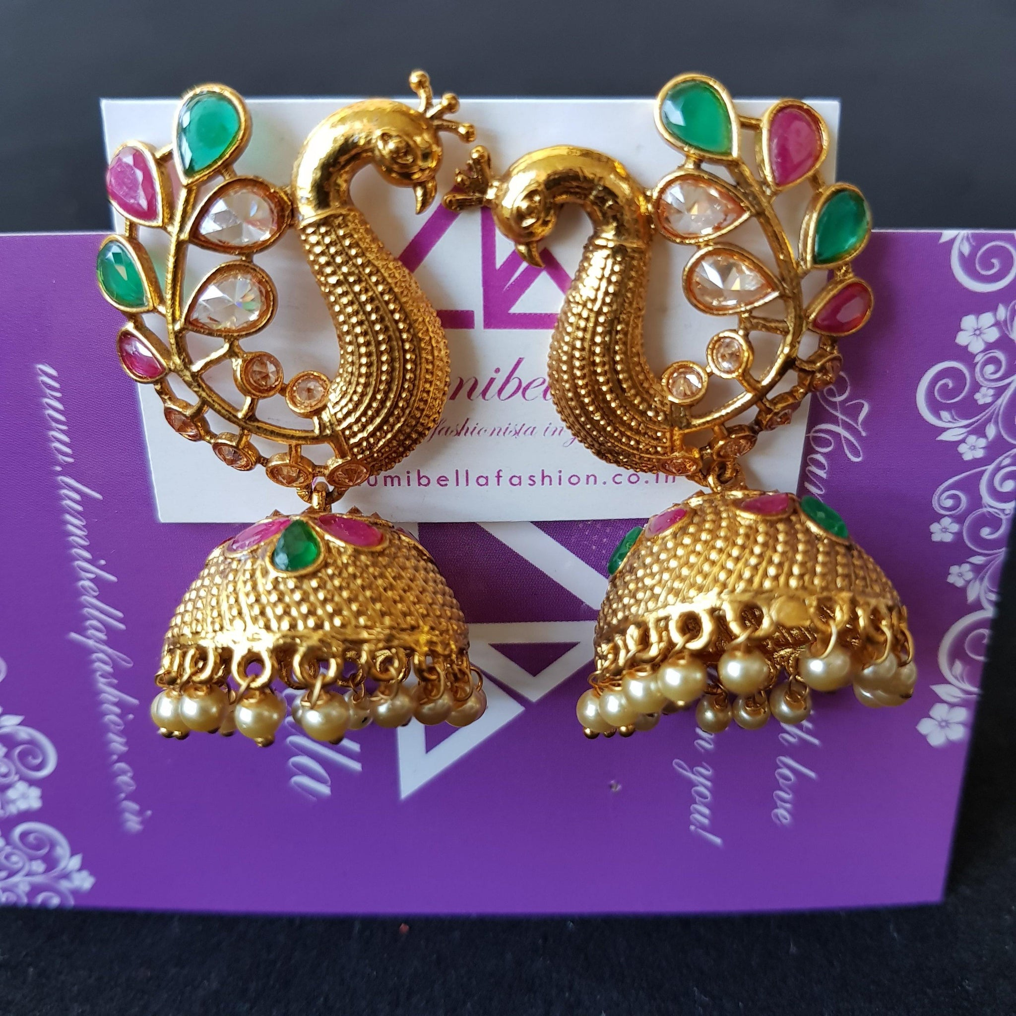 Antique style jumki earrings