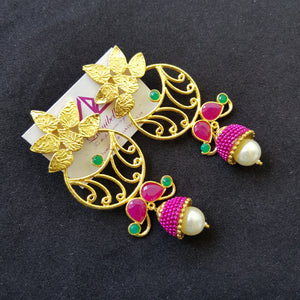 Gold polished Long Earrings with pearl and stone embellishment