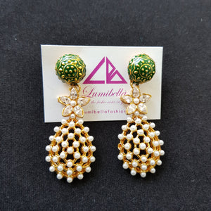 Gold polished Long Earrings with pearl, green enamel and stone embellishment