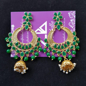 Designer Chandbali Earrings with Green Stones