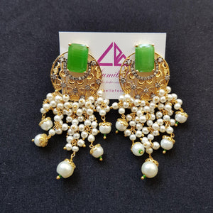Designer Dangler Style Green Stone Studded Earrings