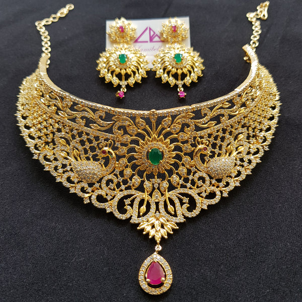 Peacock and Floral style bridal choker set