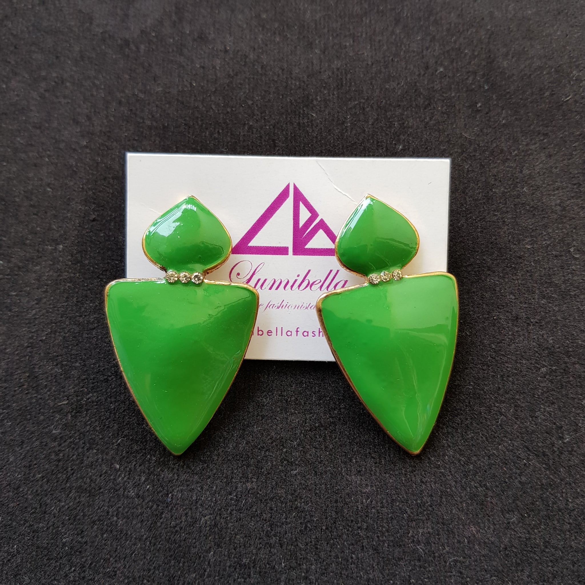 Green colour enamel finish fashion earrings