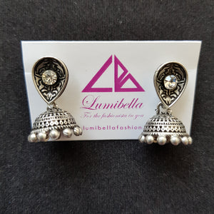 Matte silver finish jhumki earrings