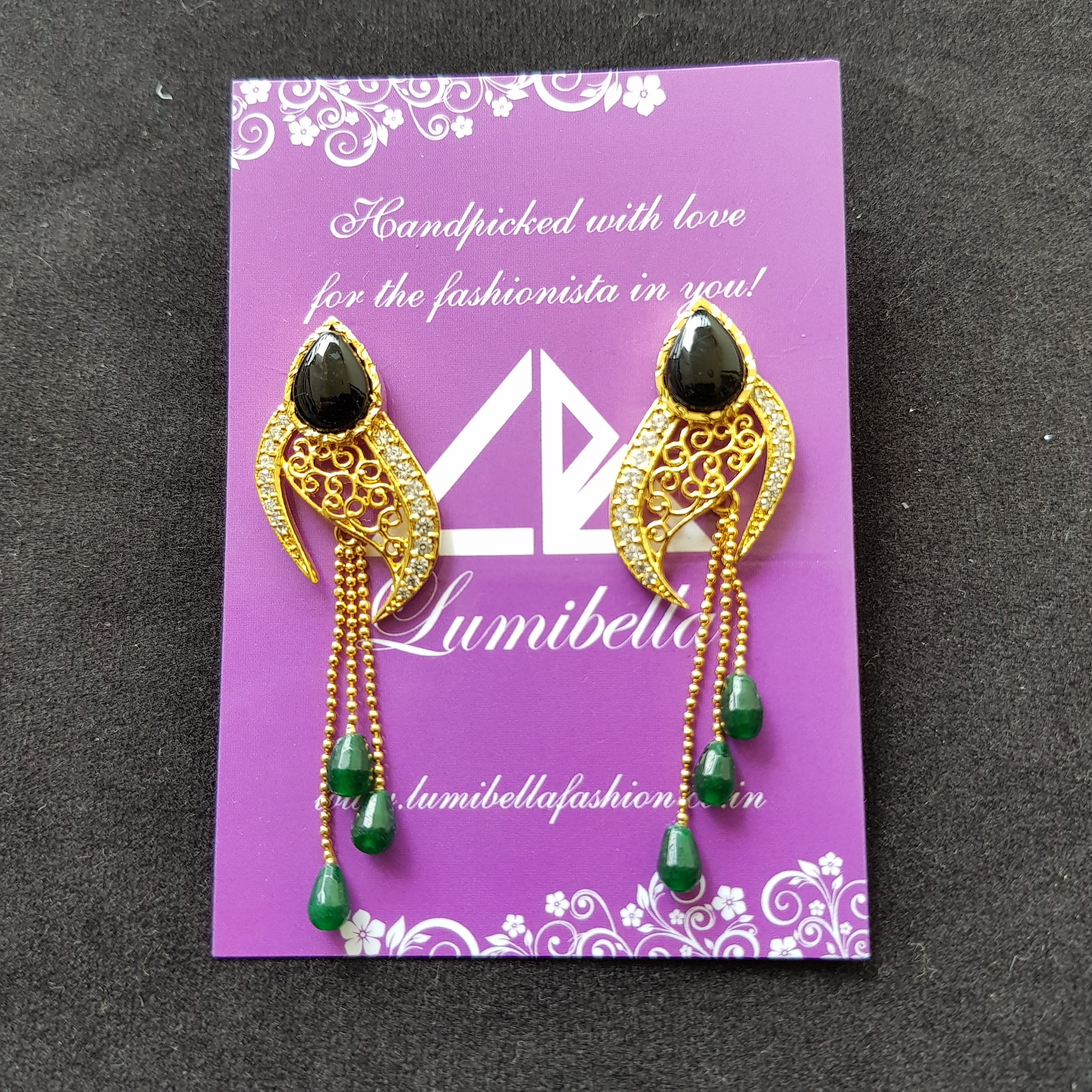 Golden Long Earring with semi precious black and Green stone embellishment