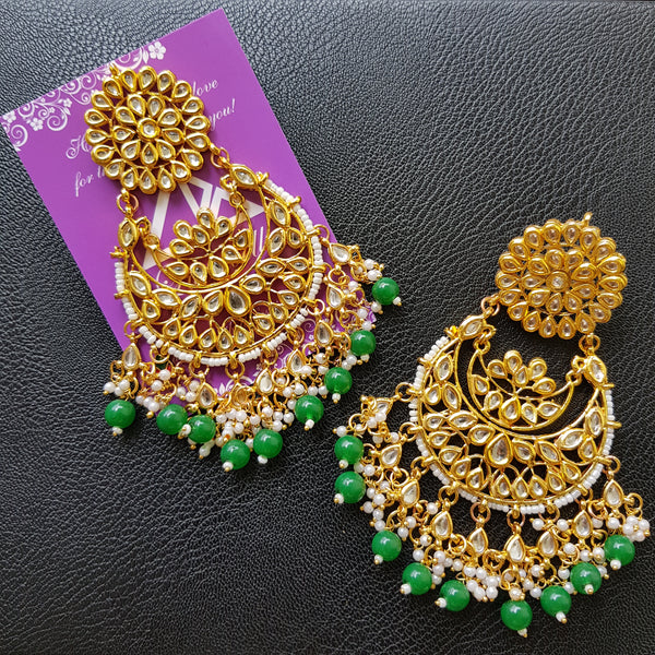 Kundan stone embellished large chandbali earring