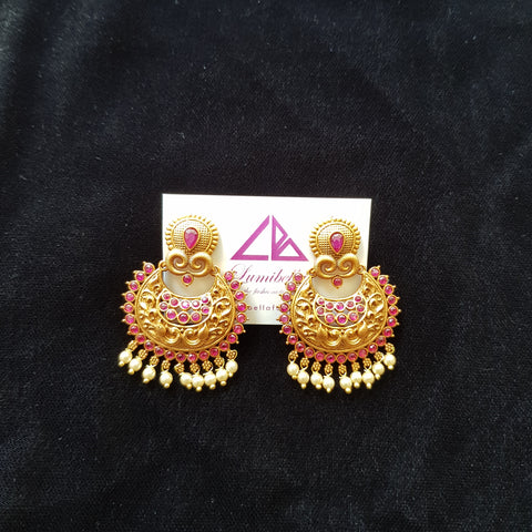 Matte Gold with Ruby Stone Earrings