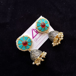 Turquoise Oval Style Jumki Earrings
