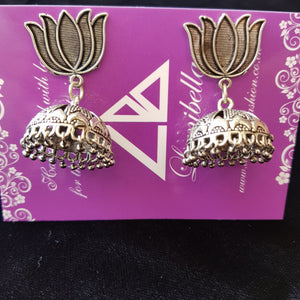 Lotus Style German silver jumki earrings
