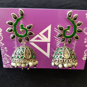 GS Green Enamel Jumki earrings