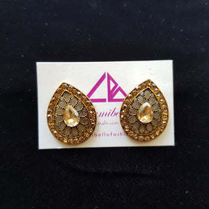 Oval Patterned Stud Earrings