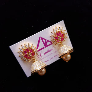 Zircon studded Jumki Earrings