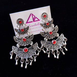 Flower Style Dangling Earrings with Red semi precious stone embellishment