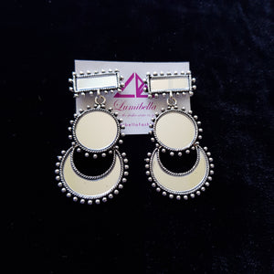 Mirror Style Oxidized Earring