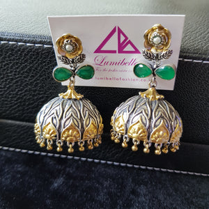 GS Dual Tone Jumki with Green Stone Embellishment