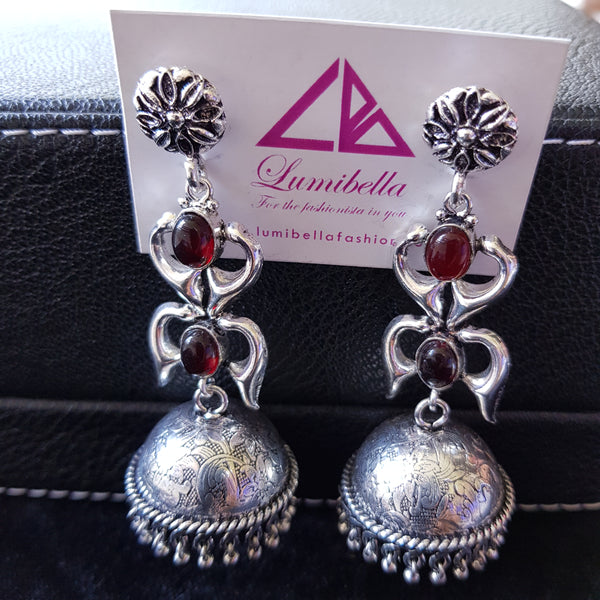 German Silver Long Jumkha With Red Stone Embellishment