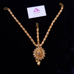 Semi Precious Golden Stone style three-layered Maang tikka