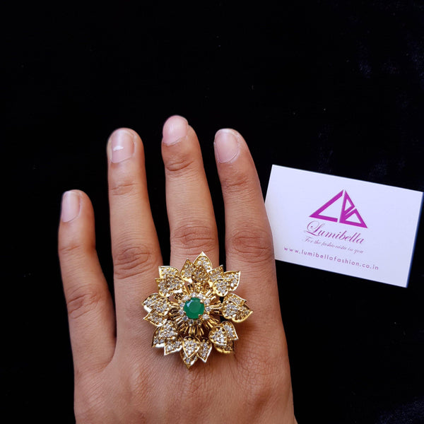 AD Adjustable Floral Finger Ring - Demo