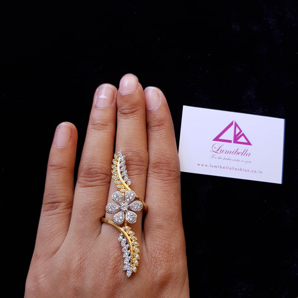 AD Dual Tone Adjustable Floral Finger Ring - Demo