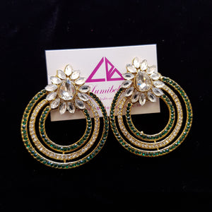 Round Shaped Green Stone Studded Earrings