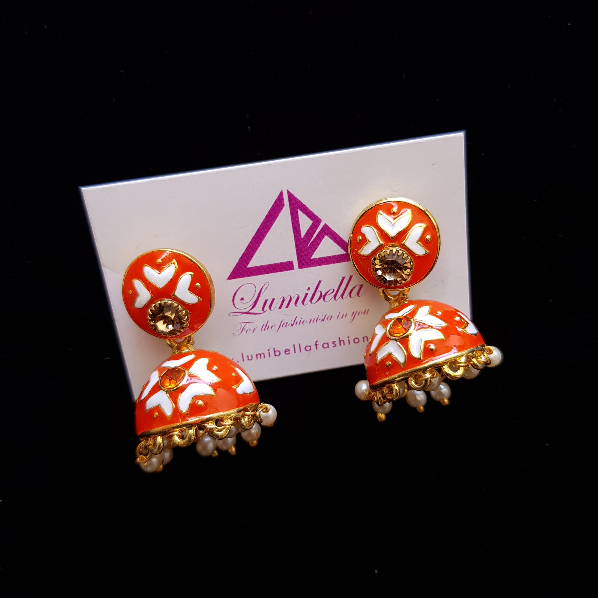 Orange Kalamkari Hand Painted Jhumka Jhumki