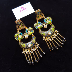 Kundan Style Black Enameled Designer Long Earrings