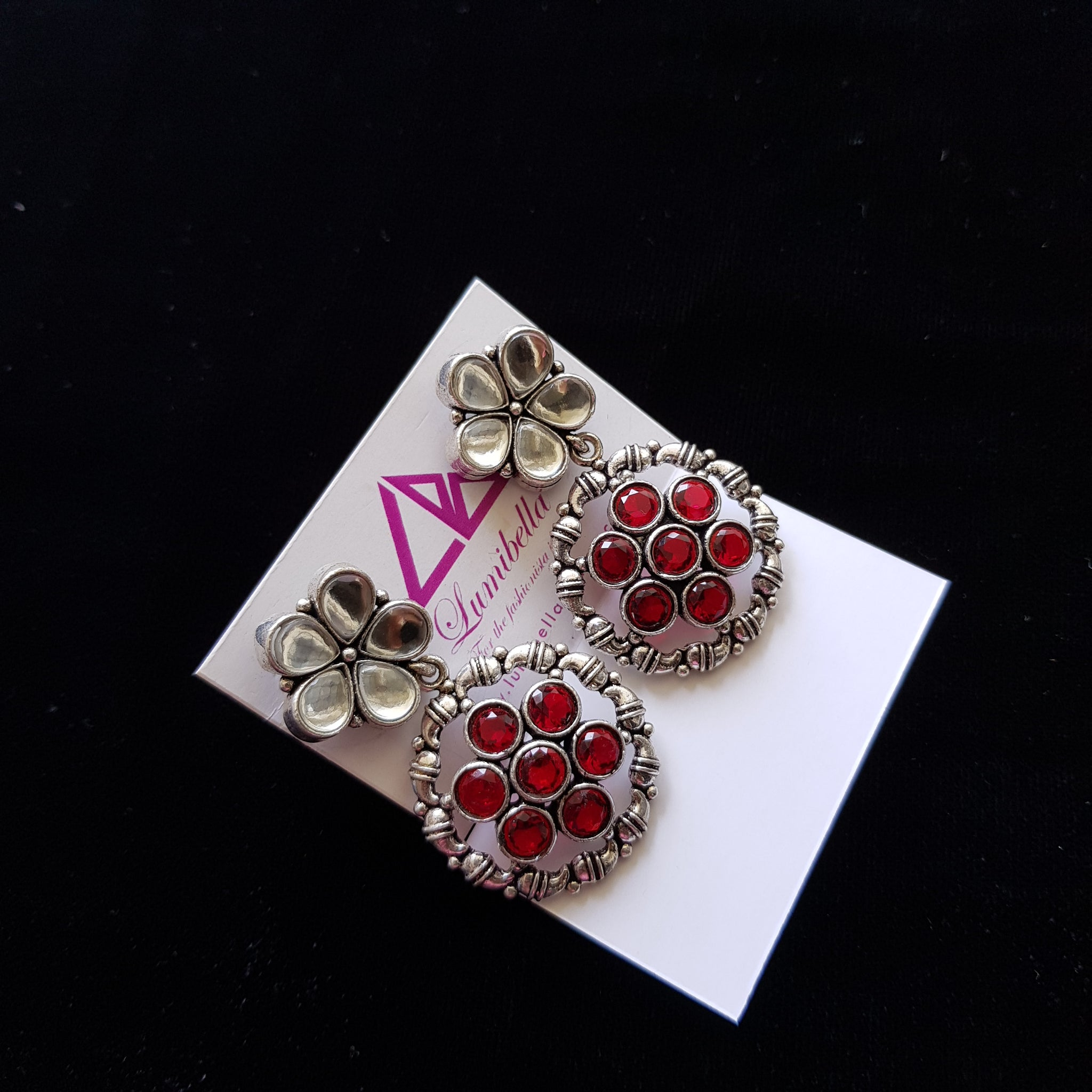 German silver stud earrings with semi precious stone embellishment