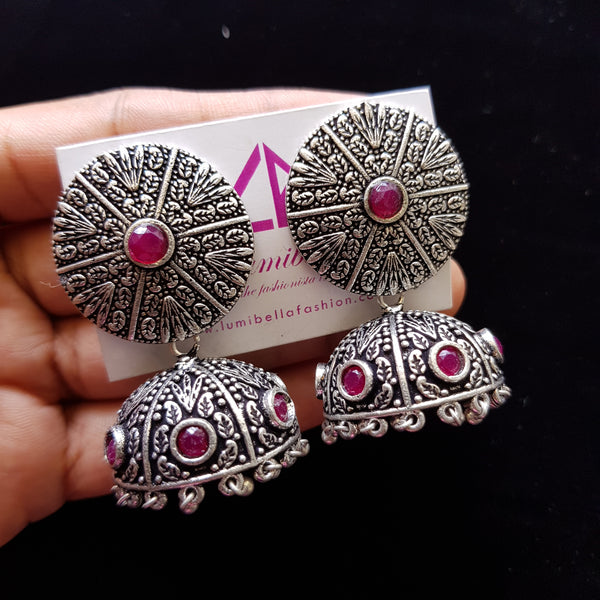 German Silver Jhumka Jhumki Earrings