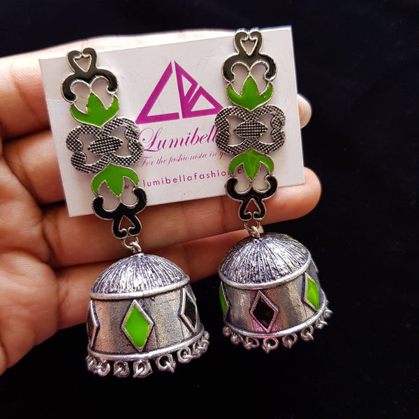 German silver black and green enameled jhumka jhumki