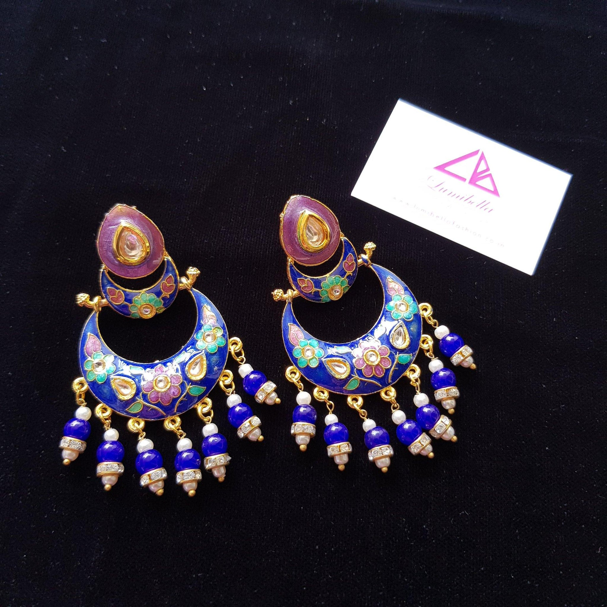 Designer Chandbali Blue Enameled Earrings