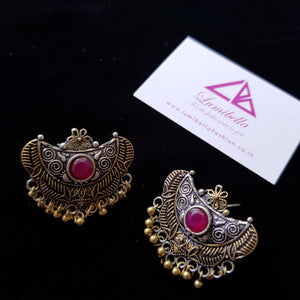 German silver stud earrings with ruby semi precious stone embellishment