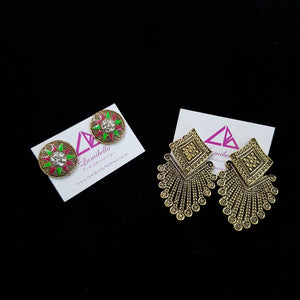 Combo 4 - Designer Stud and German silver Earrings