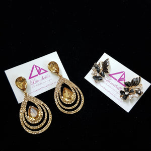 Combo 10 - Designer Golden and Black stud Earrings