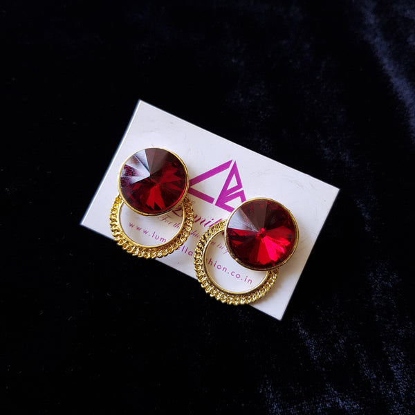 Combo 19 - Designer Red Stud Earrings and Golden Earrings