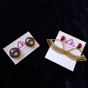 Combo 17 - Designer Pearl Stud Earrings and Red Stud Earrings