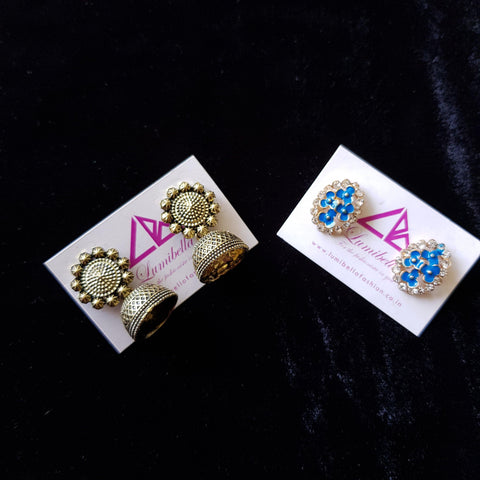Combo 16 - Designer Jhumka Earrings and Blue Stud Earrings