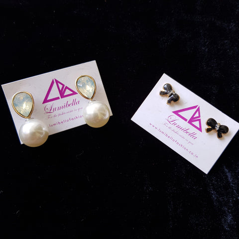 Combo 14 - Designer Pearl Stud Earrings and Black Stud Earrings