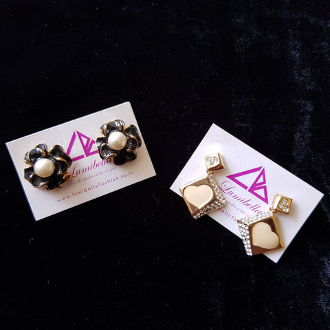 Combo 13 - Designer Golden and Black Stud Earrings