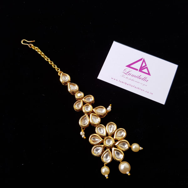 Kundan Style Maang Tikka with White stone and Pearl Embellishment