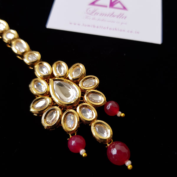 Kundan Style Maang Tikka with Ruby Beads