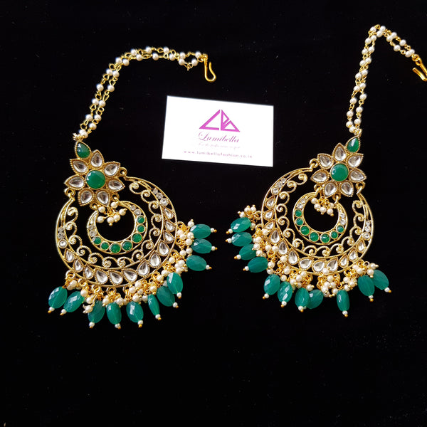 Kundan Style Chandbali Earrings with Green Bead work