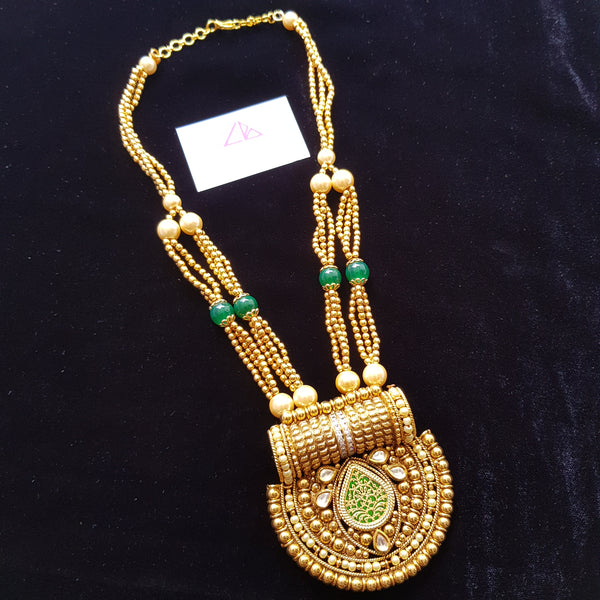 Gold Polish Mirror and Kundan Work Neckset
