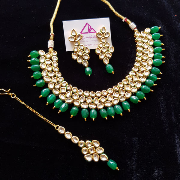 Kundan Style Bridal set with Green Pearls
