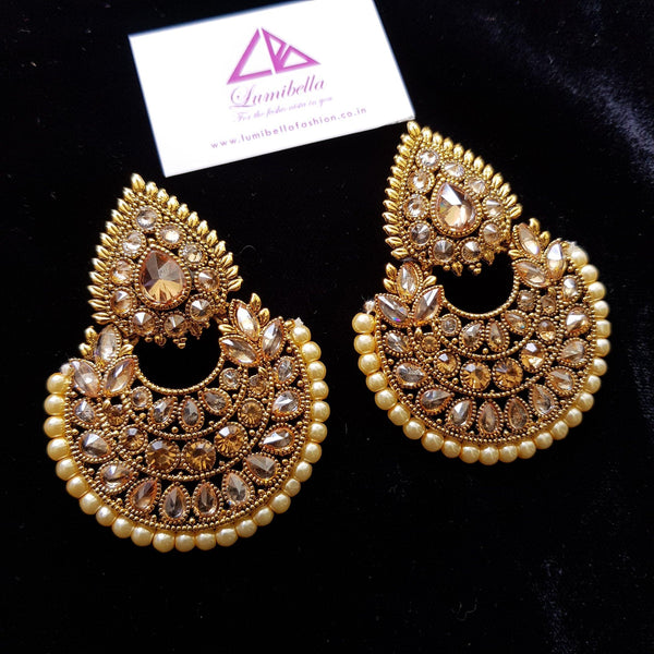 Designer Chandbali Earrings with semi precious stone embellishment
