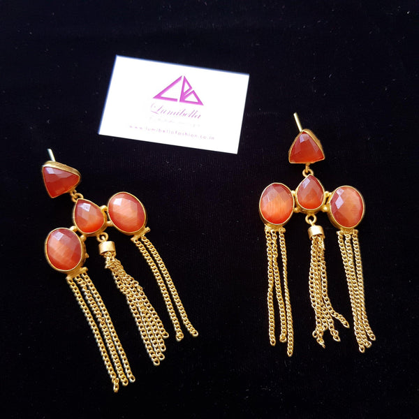 Brick Color Semi Precious Stone Embellished long Statement Earrings