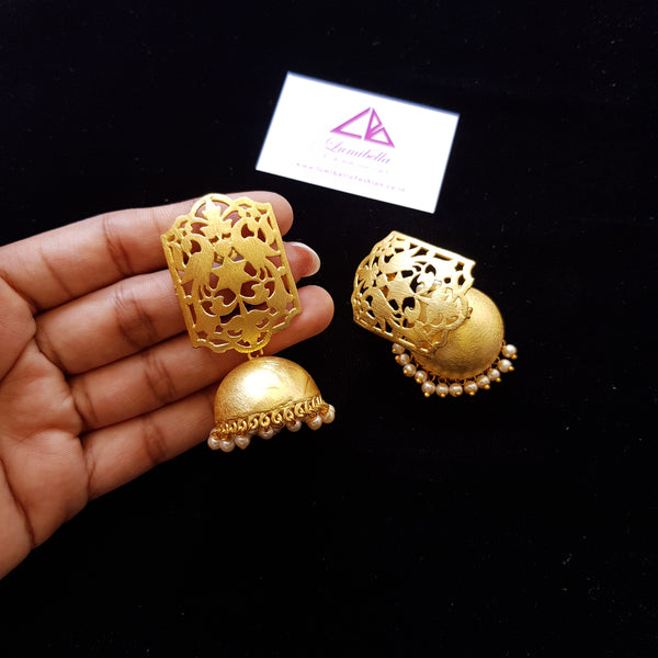 Matte Style Jhumka Jhumki Earrings with Pearl Gungurus